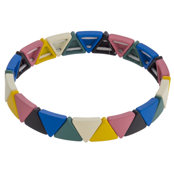 "Triangle color block stretch bracelet. Approximately 3"" in diameter unstretched. Fits up to a 6"" wrist."