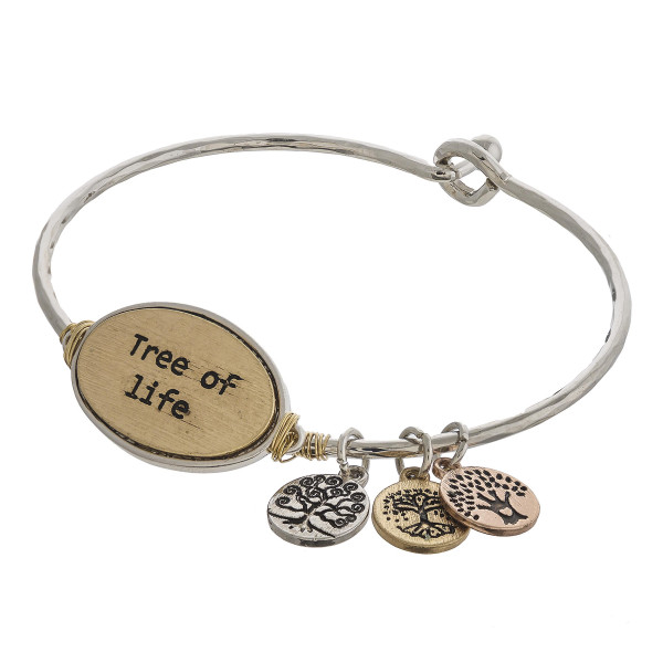 """Two tone Tree of Life engraved wire wrapped bangle charm bracelet. Approximately 2.5"""" in diameter. Fits up to a 5"""" wrist."""