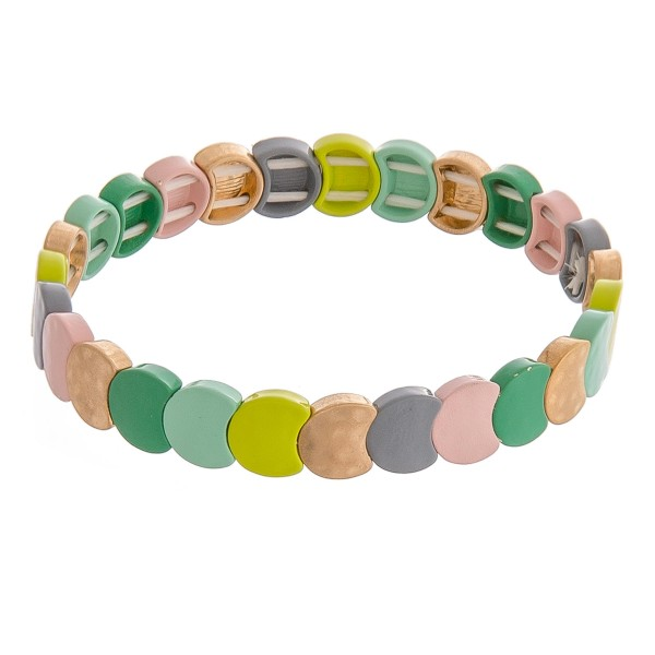 """Enamel color coated metal stretch bracelet.  - Approximately 3"""" in diameter unstretched - Fits up to a 6"""" wrist"""