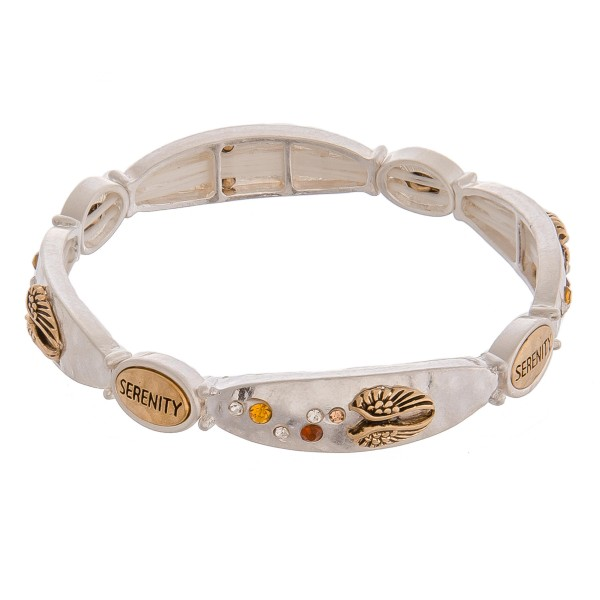 "Serenity two tone inspirational metal stretch bracelet with rhinestone details.   - Approximately 3"" in diameter unstretched  - Fits up to a 6"" wrist"