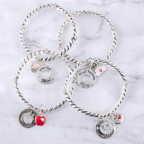 """""""Most Favorite Nurse"""" engraved cut out charm cable stretch bracelet.  """"Kindness, Comfort, Compassion""""          """"Nurses are Angels""""   - Approximately 3"""" in diameter unstretched - Fits up to a 6"""" wrist"""