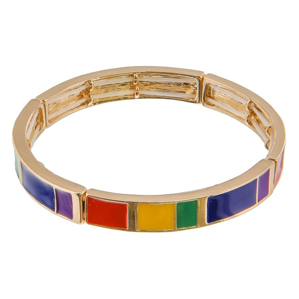 """Enamel color coated color block stretch bracelet.  - Approximately 3"""" in diameter unstretched - Fits up to a 6"""" wrist"""