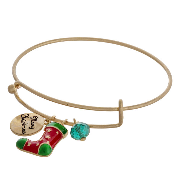 "Gold Christmas charm bangle bracelet with hook closure. Approximately 3"" in diameter. Fits up to a 6"" wrist."