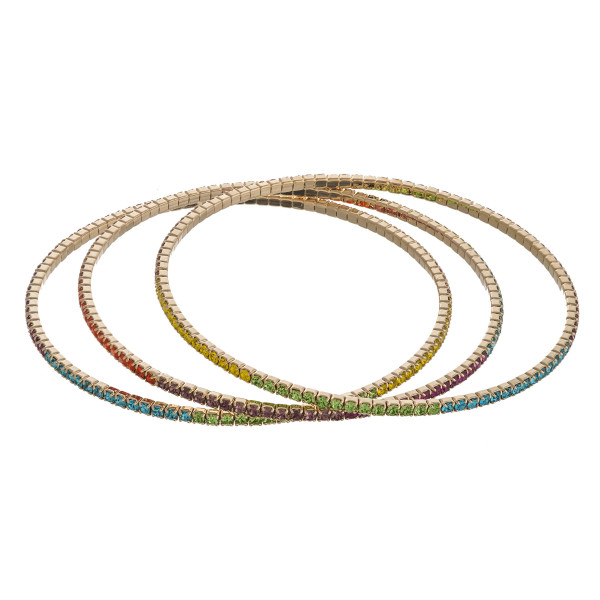 "Multicolor rhinestone bangle bracelet set of three featuring super flexible memory wire. Approximately 2.75"" in diameter. Fits up to a 5.5"" wrist."