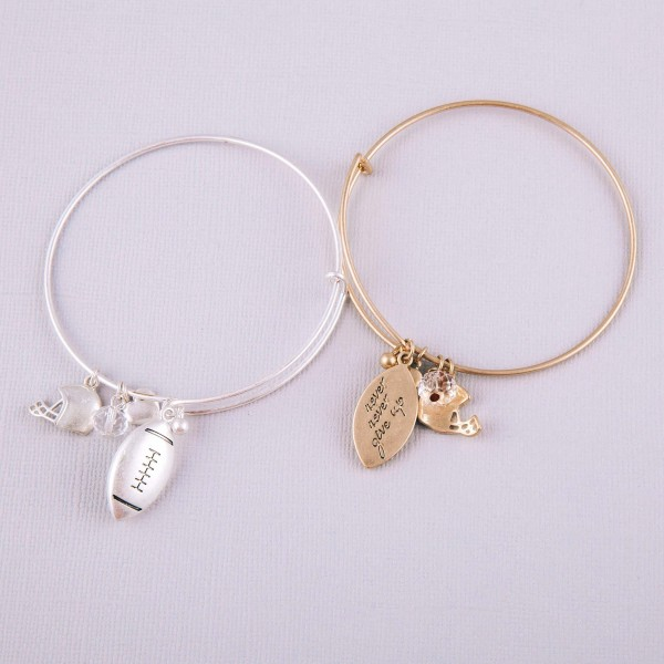 """Gold football charm bangle bracelet with hook closure. Approximately 3"""" in diameter. Fits up to a 6"""" wrist."""
