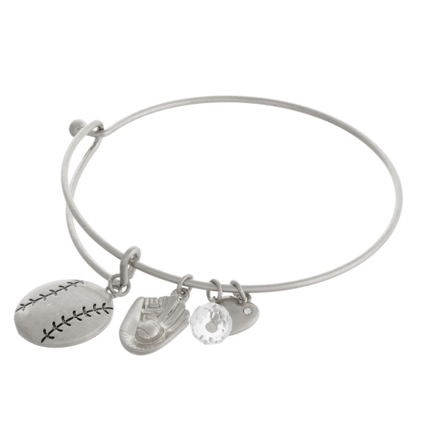 """Silver baseball charm bangle bracelet with hook closure. Approximately 3"""" in diameter. Fits up to a 6"""" wrist."""
