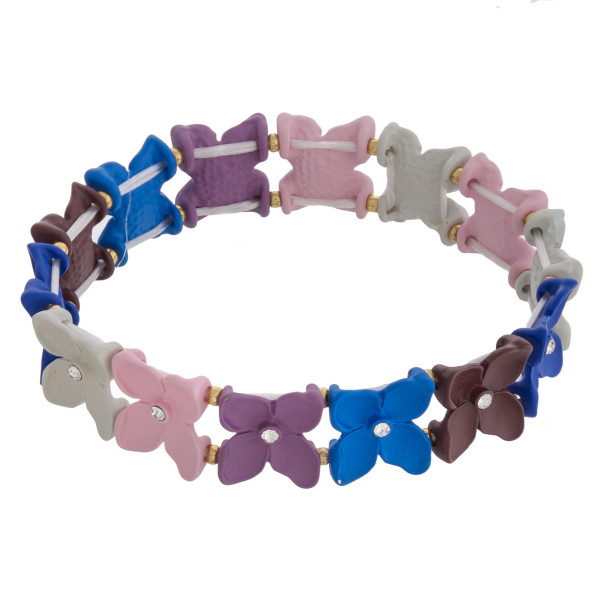 "Multicolor flower color block beaded stretch bracelet with rhinestone accents.   - Approximately 3"" in diameter unstretched - Fits up to a 6"" wrist"