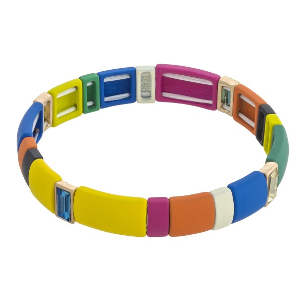 "Coated rhinestone color block stretch bracelet. Approximately 3"" in diameter unstretched. Fits up to a 6"" wrist."