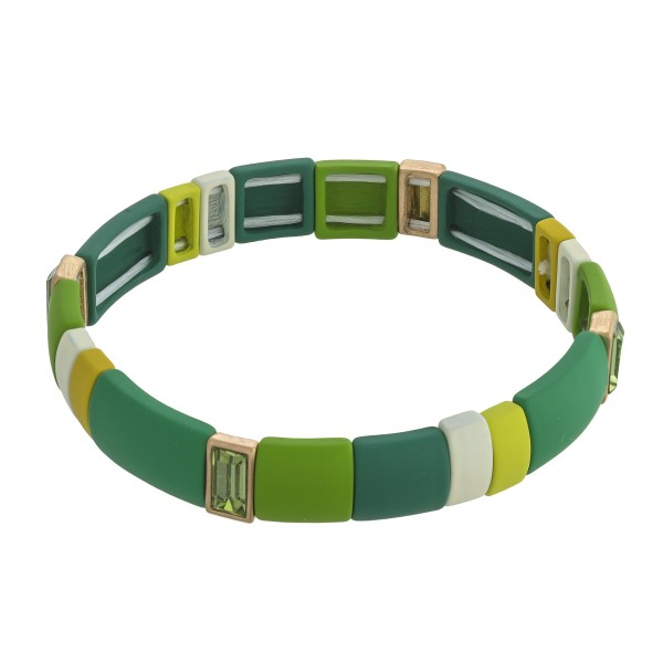 """Coated rhinestone color block stretch bracelet. Approximately 3"""" in diameter unstretched. Fits up to a 6"""" wrist."""