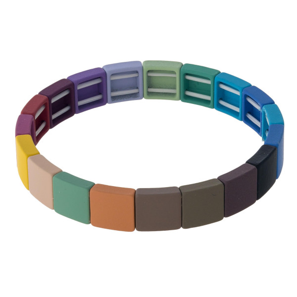 "Square color block stretch bracelet. Approximately 3"" in diameter. Fits up to a 6"" wrist."