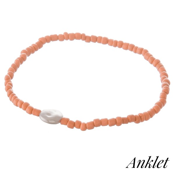 "Bubble beaded faux pearl stretch anklet.  - Approximately 4"" in diameter unstretched - Fits up to a 9"" ankle"