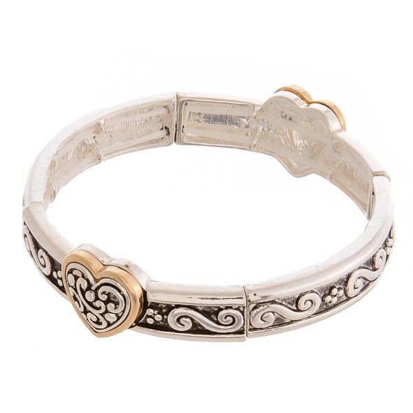 """Two tone antique silver metal heart filigree stretch bracelet.   - Approximately 3"""" in diameter unstretched - Fits up to a 6"""" wrist"""