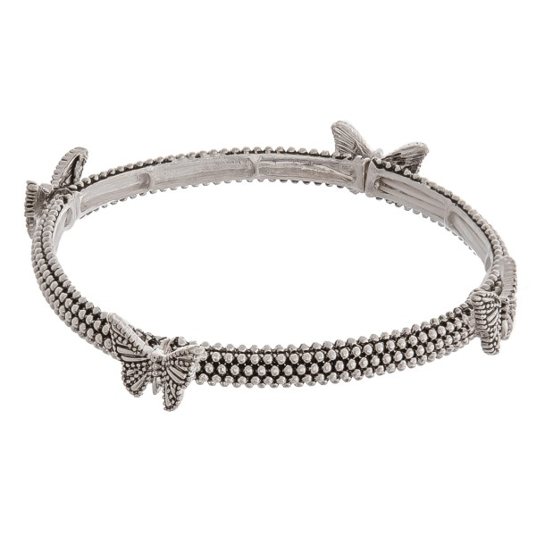 "Antique silver butterfly metal stretch bracelet.   - Approximately 3"" in diameter unstretched - Fits up to a 6"" wrist"