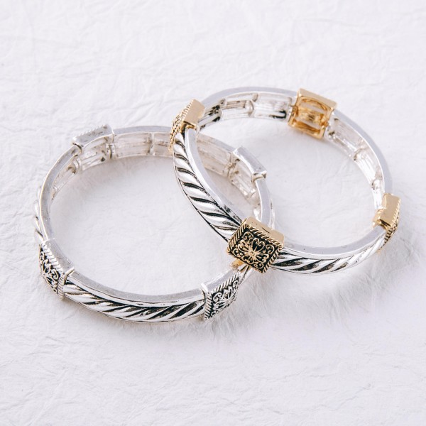 """Two tone antique silver metal stretch bracelet.   - Approximately 3"""" in diameter unstretched  - Fits up to a 6"""" wrist"""