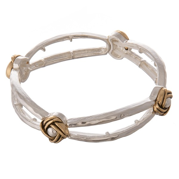 "Two tone hammered cut out stretch bangle bracelet.  - Approximately 3"" in diameter unstretched - Fits up to a 7"" wrist"