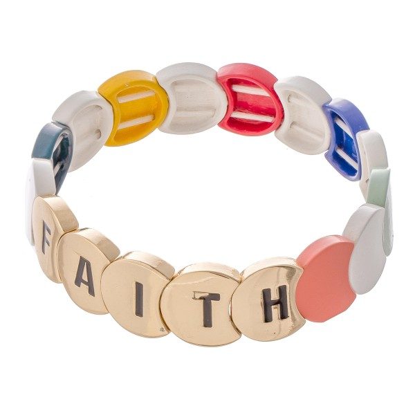 "Gold Tone Enamel Coated ""Faith"" Letter Color Block Stretch Bracelet.  - Approximately 3"" in diameter - Fits up to a 7"" wrist"
