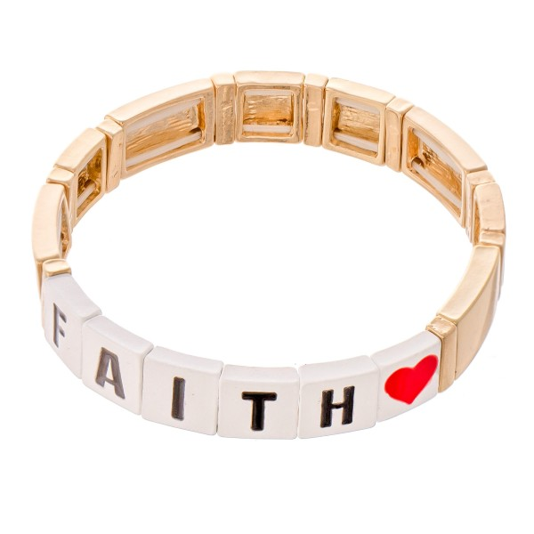 "Gold Tone Enamel Coated Tile ""Faith"" Letter Block Stretch Bracelet with Heart Detail.  - Approximately 3"" in diameter - Fits up to a 7"" wrist"