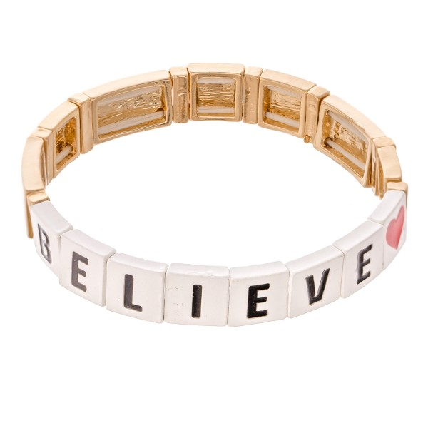 "Gold Tone Enamel Coated Tile ""Believe"" Letter Block Stretch Bracelet with Heart Detail.  - Approximately 3"" in diameter - Fits up to a 7"" wrist"