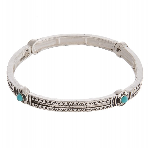 "Antique silver turquoise natural stone accented metal stretch bracelet.  - Approximately 3"" in diameter unstretched - Fits up to a 6"" wrist"