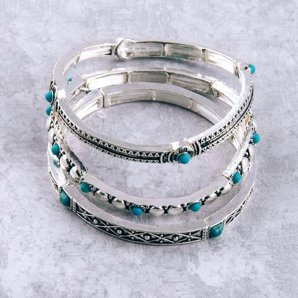 "Antique silver turquoise natural stone metal stretch bracelet.  - Approximately 3"" in diameter unstretched - Fits up to a 6"" wrist"