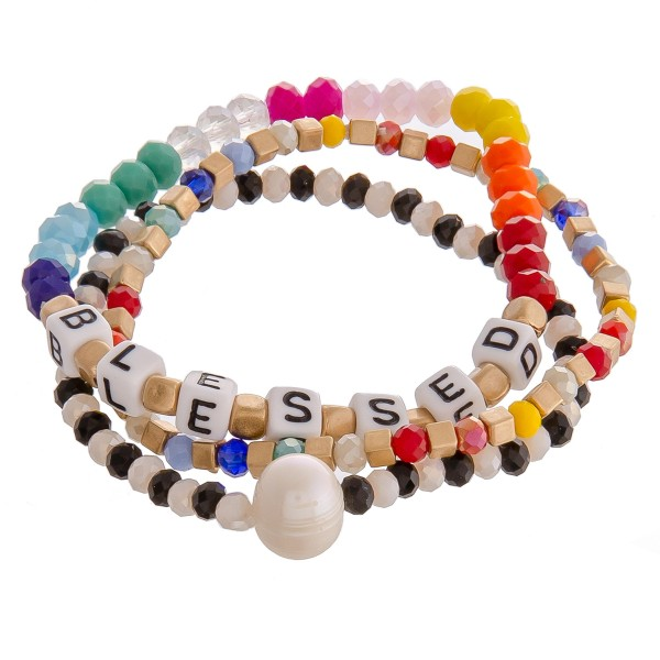 "Multicolor beaded ""Blessed"" letter block pearl stretch bracelet set.  - 3pcs/set - Approximately 3"" in diameter unstretched - Fits up to a 7"" wrist"