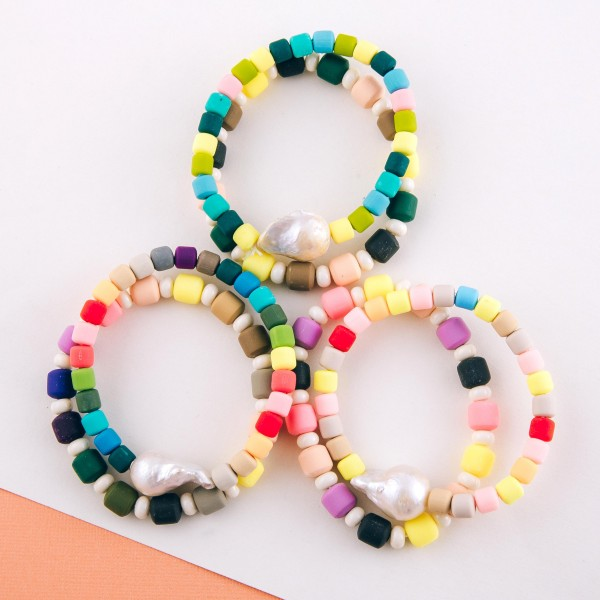 "Rubbery color block freshwater pearl stretch bracelet set.  - 2pcs/pack - Approximately 3"" in diameter unstretched - Fits up to a 7"" wrist"