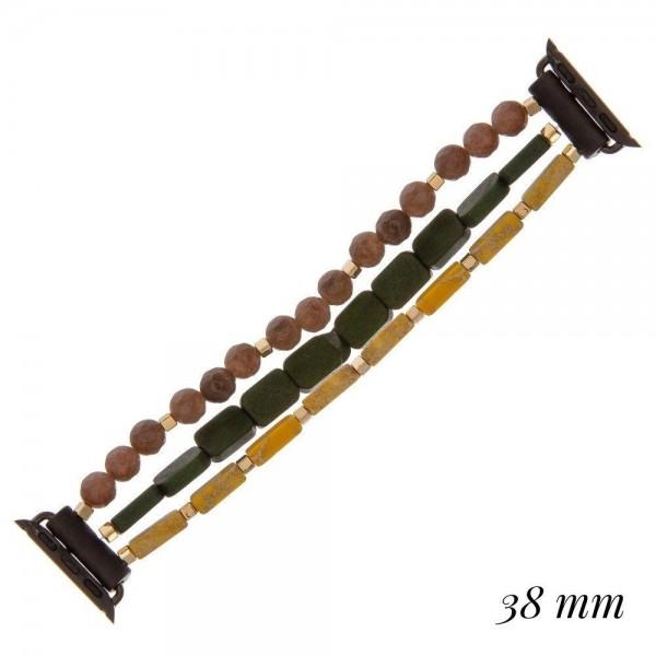 Wholesale interchangeable semi precious wood beaded smart watch bracelet diamete
