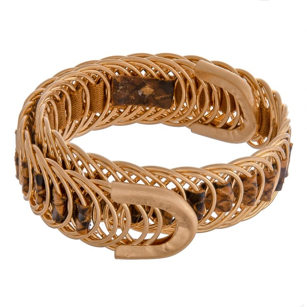Faux leather snakeskin woven metal wrap bracelet.  - Open fit - One size fits most - Approximately 2cm in width