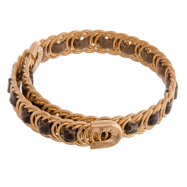 Faux leather snakeskin woven metal wrap bracelet.  - Open fit  - One size fits most - Approximately 1cm in width
