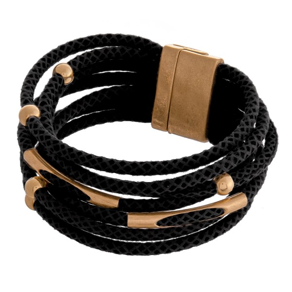 """Multi strand faux leather snakeskin magnetic bracelet.  - Magnetic closure - Approximately 3"""" in diameter - Fits up to a 6"""" wrist"""