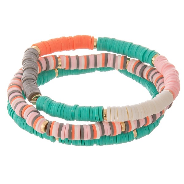 """Polymer Clay spacer disc beaded stretch bracelet set.  - 3pcs/set - Approximately 3"""" in diameter unstretched - Fits up to a 7"""" wrist"""