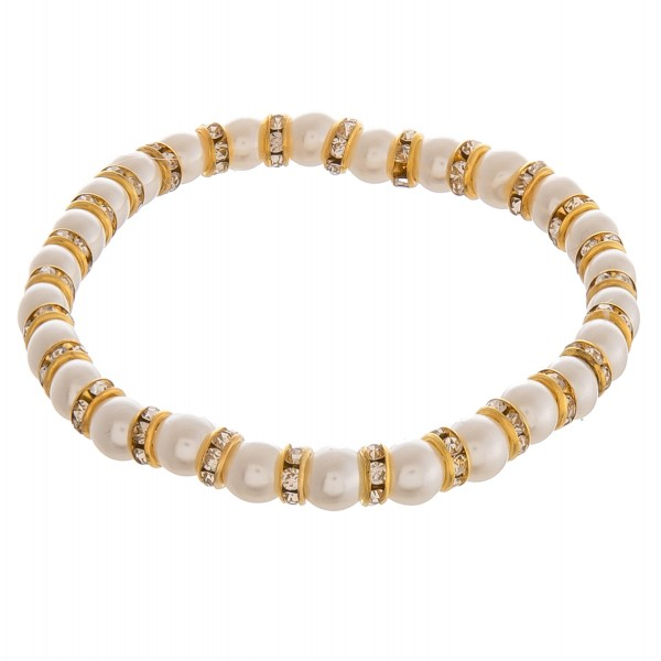 """Rhinestone pearl beaded stretch bracelet.  - Approximately 3"""" in diameter unstretched - Fits up to a 6"""" wrist  - Bead size approximately 5.5mm"""