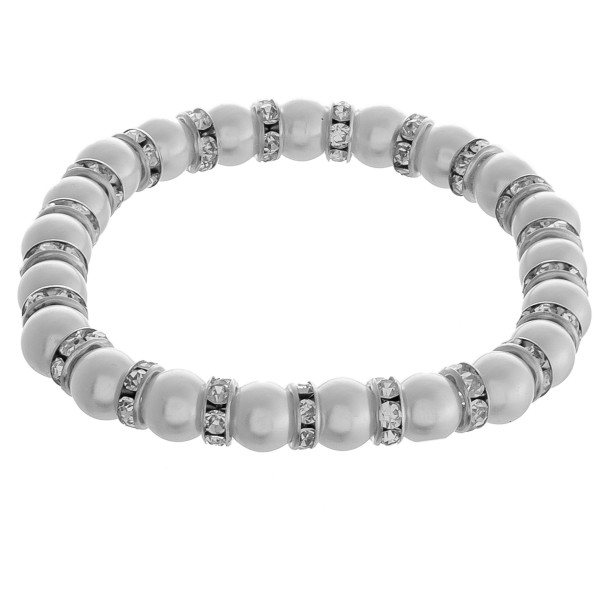 """Rhinestone pearl beaded stretch bracelet.  - Approximately 3"""" in diameter unstretched - Fits up to a 6"""" wrist - Bead size approximately 7.5mm"""