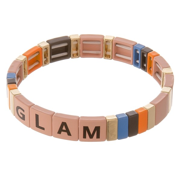"""Shiny enamel coated """"Glam"""" letter color block stretch bracelet.  - Approximately 3"""" in diameter unstretched - Fits up to a 7"""" wrist"""
