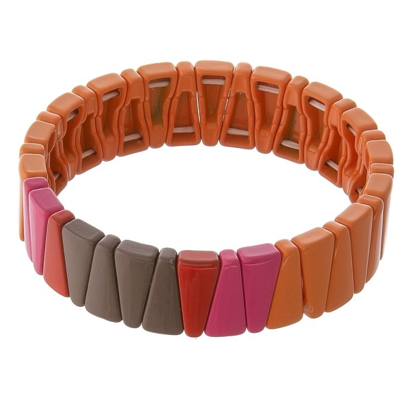"""Shiny enamel coated triangle color block stretch bracelet.  - Approximately 3"""" in diameter unstretched - Fits up to a 7"""" wrist"""