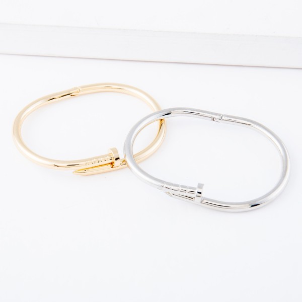 "Hinge Nail Bangle Bracelet.  - Approximately 2.5"" in diameter - Fits up to a 5"" wrist"