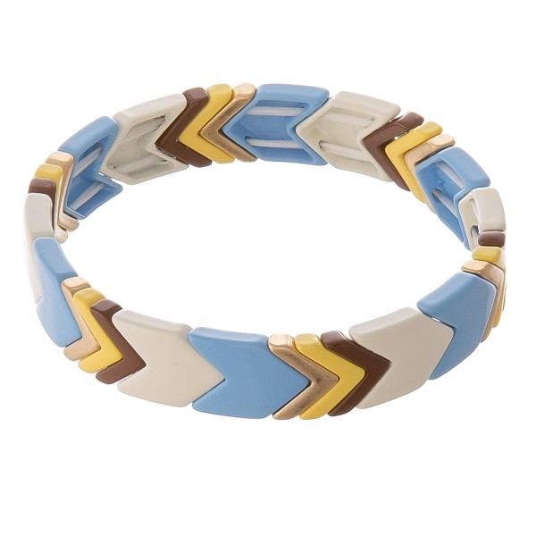 """Shiny enamel coated chevron color block stretch bracelet.  - Approximately 3"""" in diameter unstretched - Fits up to a 7"""" wrist"""