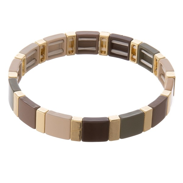 """Shiny enamel coated color block stretch bracelet.  - Approximately 3"""" in diameter unstretched - Fits up to a 7"""" wrist"""