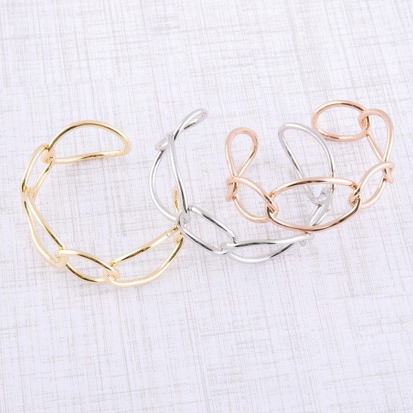 """Metal chain link open cuff bracelet.  - Approximately 2.5"""" in diameter - Fits up to a 5"""" wrist"""