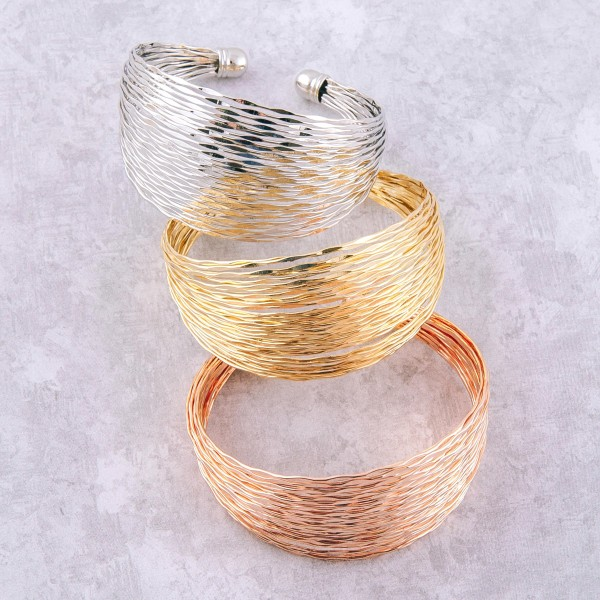"Textured metal bohemian cuff bracelet.   - Approximately 2.75"" in diameter - Fits up to a 6"" wrist"
