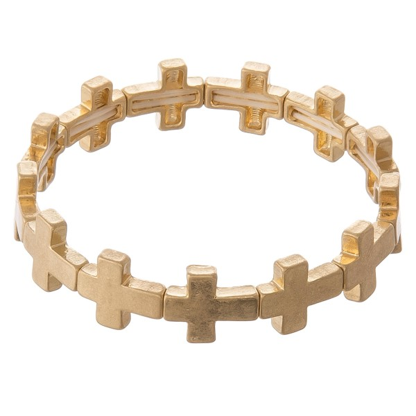 "Metal cross stretch bracelet.  - Approximately 3"" in diameter unstretched - Fits up to a 7"" wrist"