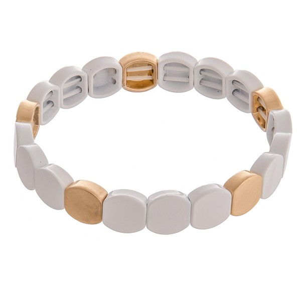 """Enamel coated metal color stretch bracelet.  - Approximately 3"""" in diameter unstretched  - Fits up to a 6"""" wrist"""