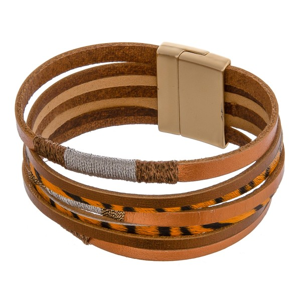 "Thread wrapped faux leather multi strand tiger print magnetic bracelet.  - Approximately 3"" in diameter  - Fits up to a 6"" wrist"