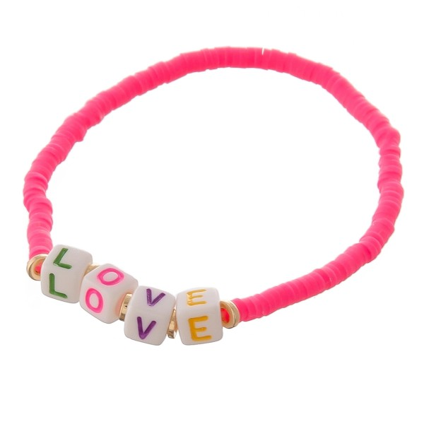 "Dainty Polymer Clay spacer disc beaded ""Love"" letter block stretch bracelet.  - Approximately 3"" in diameter unstretched - Fits up to a 7"" wrist"