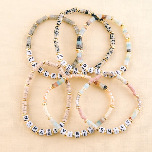 "Semi precious beaded ""Fierce"" letter stretch bracelet.  - Approximately 3"" in diameter unstretched - Fits up to a 7"" wrist"