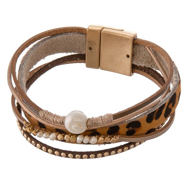 """Multi strand genuine leather leopard print pearl beaded magnetic bracelet.  - Magnetic closure - Approximately 3"""" in diameter - Fits up to a 6"""" wrist"""