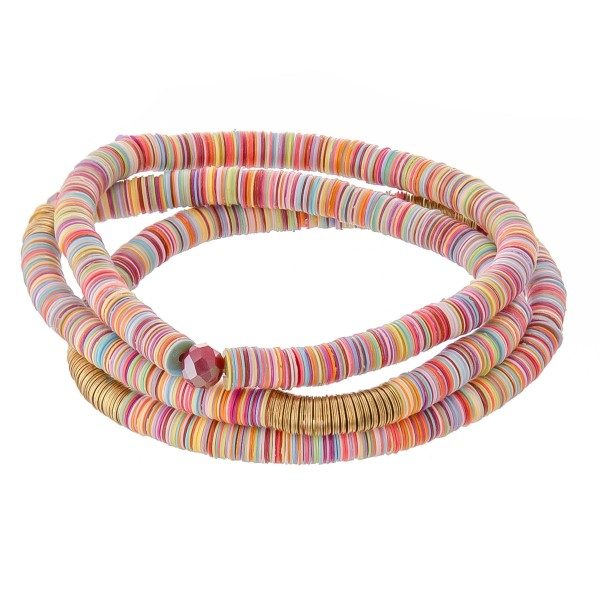 "3 PC Rubber Heishi Beaded Stretch Bracelet Set.  - 3 PC Per Set - Approximately 3"" in Diameter"
