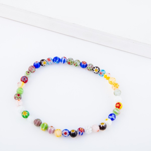 """Multicolor Semi Precious Flower Beaded Stretch Anklet.  - Approximately 4"""" in diameter - Fits up to a 7"""" ankle"""