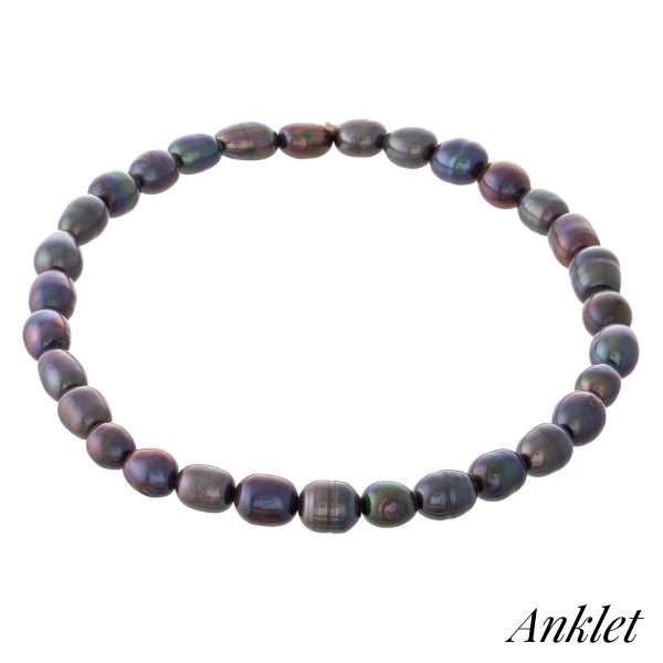"Ringed Baroque Pearl Beaded Stretch Anklet.  - Approximately 4"" in diameter - Fits up to an 8"" ankle"
