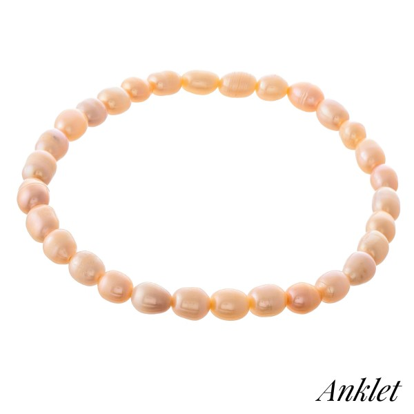 Wholesale ringed Baroque Pearl Beaded Stretch Anklet diameter Fits up ankle